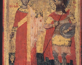 Saint-Stephen and Saint-Christopher,17th century icon,Unknown Greek painter. Christian orthodox icon.FREE SHIPPING