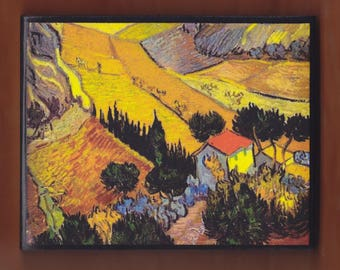 Landscape With House And Ploughman, Vincent van Gogh.FREE SHIPPING