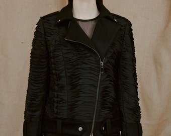 Black Wool Biker Jacket with Two Zipper Fastening at the Front, Premium Quality Material Biker Jacket, Wool and Cashmere, by ILMNE