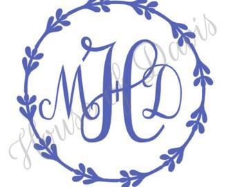 Vinyl Wreath Script Monogram Decal
