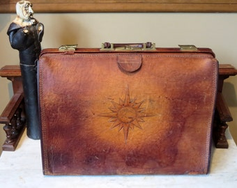 Vintage Gladstone Style  Brown Leather Briefcase With Sun Rising Behind Earth Tooled On To Side- Unique Bag