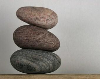 Banded Beach Stones - Zen Garden - Pebble Paperweight - Desktop Accessory - Relaxation Gift