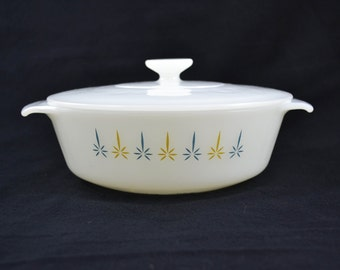 Anchor Hocking Fire King Milk Glass Casserole Dish, Covered Casserole Dish