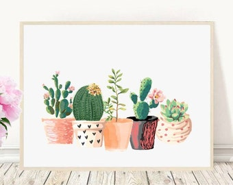 Stampa di cactus, stampabile, Cactus arte, Home Decor, Cactus in vaso, acquerello, succulente, decorazione della parete, Download immediato