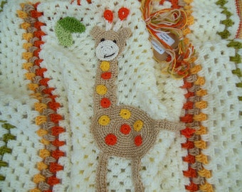 Baby Giraffe Applique Blanket Crochet Baby Blanket Baby Shower Gift Crochet Afghan, Animal Nursery, Pram, Stroller Accessories Cream Orange