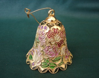 CLOISONNE' Bell Ornament, Hand Painted, Original Gift Box, Gift Giving Quality, Ornamental Bell, Collectible Bell, Bells
