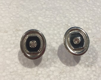 Vintage Oval Cufflinks with Rhinestones in Center