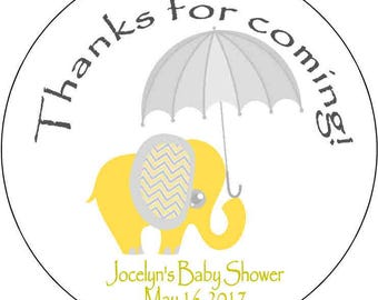 12 printed Stickers 2.5 inch Round Personalized baby shower yellow elephant