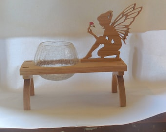 scroll sawn fairy with flower candle holder