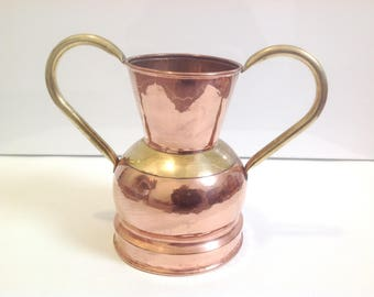 vintage large french copper and brass vase, mid century copper vase