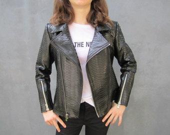 SALE 20% off , Black Python Leather Biker Style Jacket , Leather Jacket Biker, Leather Jacket XS