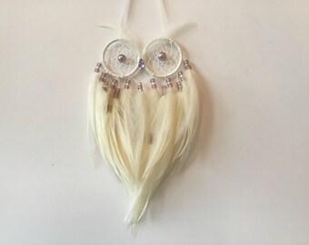 Owl Dreamcatcher - owl dream catcher, small dream catcher, owl decor, feather decor, feather wall hanging, feather wall decal