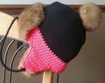 Tuque made crochet with recycled mink fur
