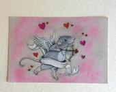 "Valentine ""Cupid Rat"" Post Card"