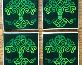 Rustic Celtic Knot Tree of Life Handmade Set of 4 Pub Coasters