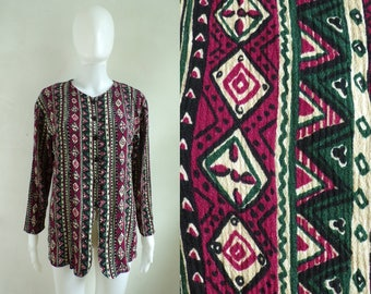 40%offAug15-17 tribal top size medium/large, 80s southwestern button down shirt, crepe rayon southwest top, 1980s purple green beige