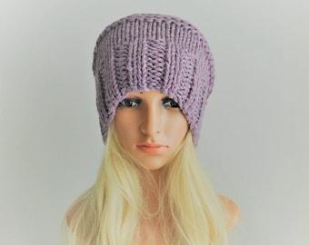 Winter hat, Knit hat, womens beanie, wool hat, slouch hat,  chunky knit hat , pink beanie, slouchy beanie women, winter hats for women