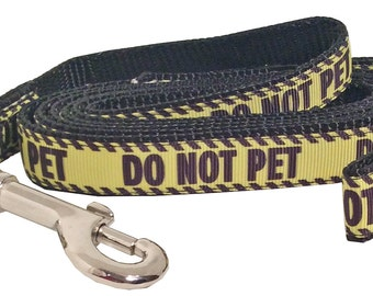 Do Not Pet Dog Leash, Do Not Pet Martingale Dog Collar (Small, Medium, Large) Yellow and Black