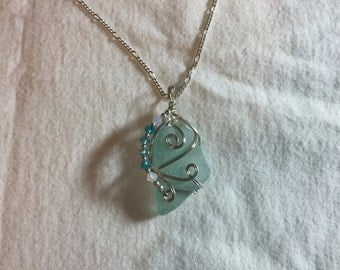 Sterling sea glass pendant chain necklace