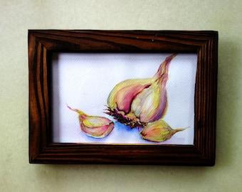 Garlic watercolor framed original art, actual painting, food art, vegetable art