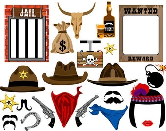 Cowboy digital photo booth party props instant download
