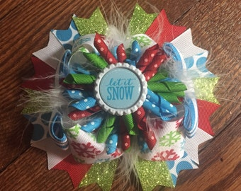 Winter/Christmas Over The Top Hair Bow