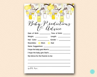 Yellow Baby Predictions and Advice Printable, Predictions for Baby, Baby Predictions, Baby Shower Games, Baby Shower Activities TLC507