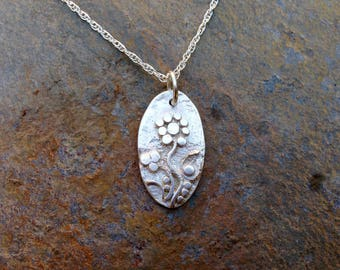 Flower necklace, one off individual organic floral design handmade using Etruscan granulation - Fine silver