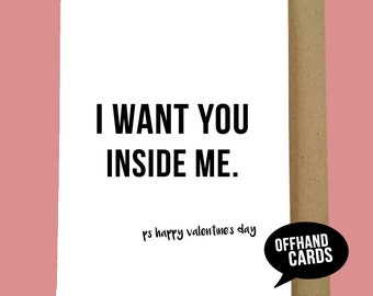 rude valentines card sexual humour adult valentines card funny valentines card valentines - Adult Valentine Cards
