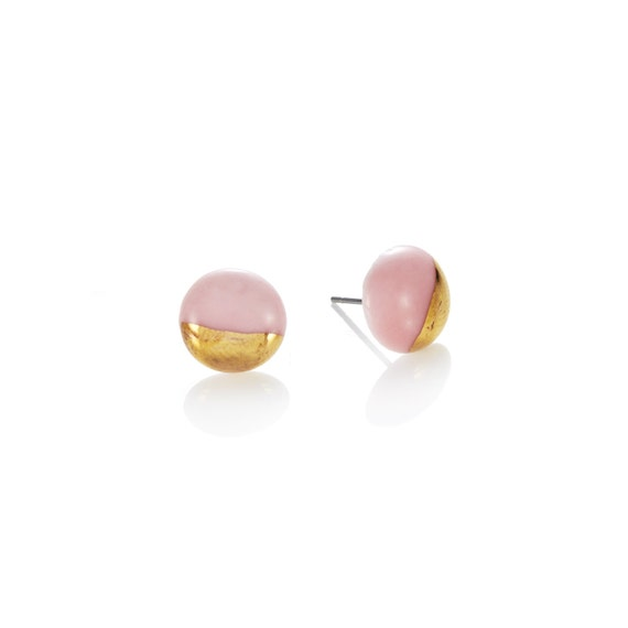 Pink Studs porcelain with 22k Gold dip