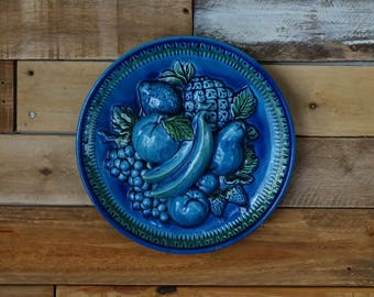 Vintage Blue Japan plate - Decorative fruits plate -  made in Japan - Indigo blue