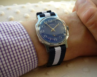 """USSR Vintage Pobeda """"Victory"""" Soviet Russian Men's Watch with new strap Vintage men's watch  – shiny face watch – soviet mechanical  #091116"""
