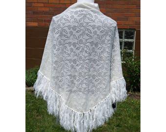 Vintage Lace Fringe Shawl, White, Floral, Boho, Festival Wrap