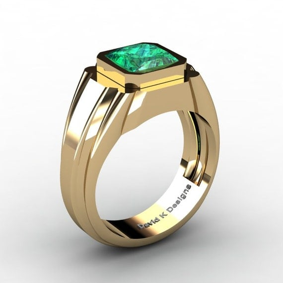 mens modern 14k yellow gold 2 0 ct princess emerald ring