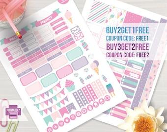 Ice Cream Planner Stickers for Erin Condren Life Planner, Weekly Stickers Kit, Printable Planner Stickers, Cake Stickers Kit
