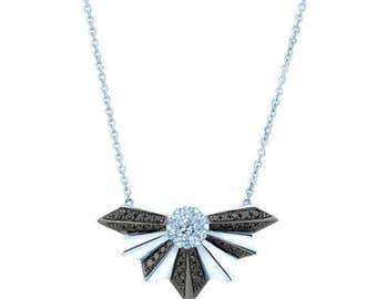0.53CT 14K White Gold Black and White Diamond Fan Necklace, Fan Pendant Necklace