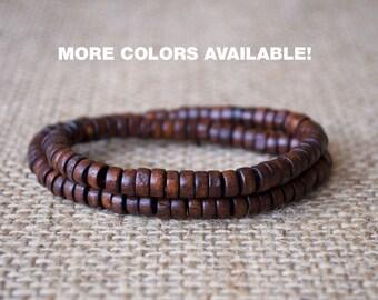 Mens Wooden beads bracelet, wooden bracelet men, unisex bead bracelet, Wood Bead Bracelet , men's wooden bracelet, Beaded Bracelets, gift