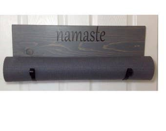 Gray yoga mat holder, handmade gray yoga mat holder, grey yoga accessory, yoga mat rack, yoga gifts for her, yoga wall rack, namaste gifts
