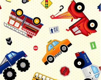 Truck Fabric, Truck Stop, Tossed Cars, Firetrucks, Dump Trucks, Boy Fabric, by Fabri Quilt Inc, 30391
