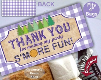Printable Treat Bag toppers Lumberjack Birthday Party First birthday Lumber Jack Purple Plaid s'more Instant Girl Woodland TBLJ6