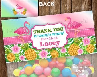 Flamingo Printable Treat Bag toppers Pineapple Birthday Party Purple teal Pink Girl Hawaiian Pool Bash Luau Top Girl Swimming TBFL1