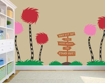 Storybook Cottonball Trees - Dr. Seuss Inspired Vinyl Wall Decal - Decor - Striped Large