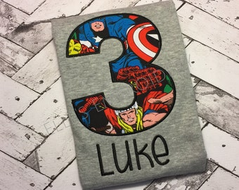Marvel superhero shirt/ Personalized superhero birthday shirt/ Boys superhero birthday shirt/ Marvel birthday shirt