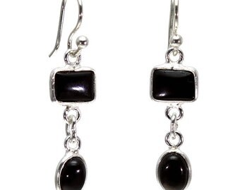 Black Onyx Earrings, 925 Sterling Silver, Unique only 1 piece available! color black, weight 2.24g, #20345