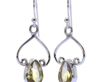 Lemon Quartz Earrings, 925 Sterling Silver, Unique only 1 piece available! color yellow, weight 2.3g, #38830