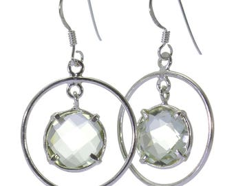 Lemon Quartz Earrings, 925 Sterling Silver, Unique only 1 piece available! color yellow, weight 3.7g, #40193