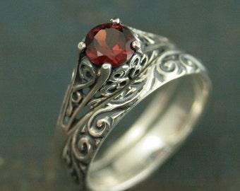 garnet bridal ring set the cinderella silver antique style engagement ring and - Cinderella Wedding Ring