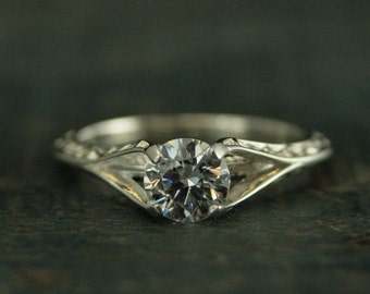 Sterling Silver Engagement Ring~Rapunzel~Unique Engagement Ring~Cathedral Setting~Vine Embossed Ring~Moissanite Ring~CZ Ring~Promise Ring