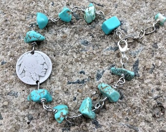 Coin Bracelet - Turquoise Bracelet - Buffalo Bracelet - Wire Wrapped bracelet  - Native American beaded  jewelry - American Indian Jewelry
