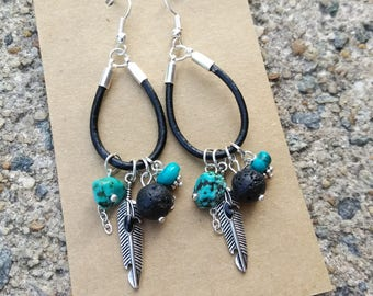 Leather earrings - Feather Dangle Earrings - Black and Turquoise earrings - Boho Earrings - gift for her - leather hoop earrings